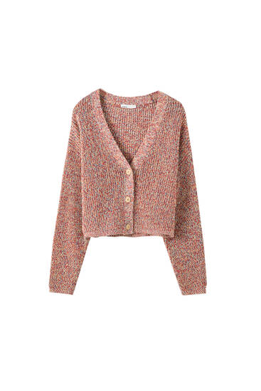 Multicoloured knit cropped cardigan