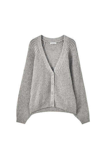 Ribbed knit cardigan with buttons