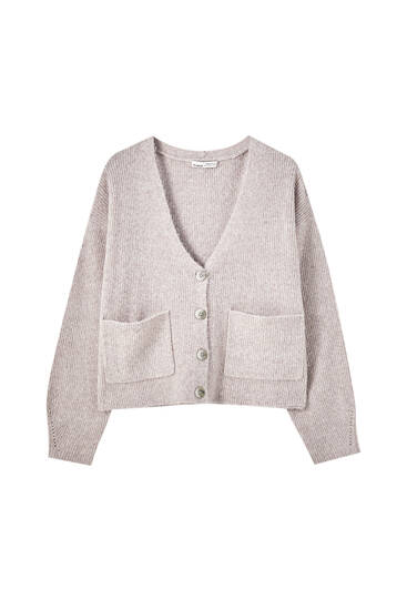 Ribbed knit cardigan with pockets