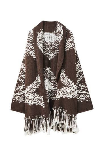 Jacquard knit coat with fringing detail