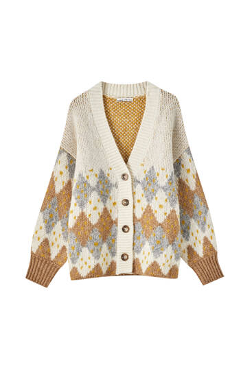 Cardigan with diamond design and buttons