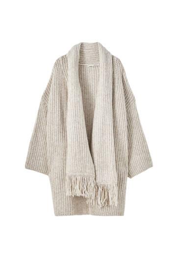 Vest met gedrapeerde kraag sjaal