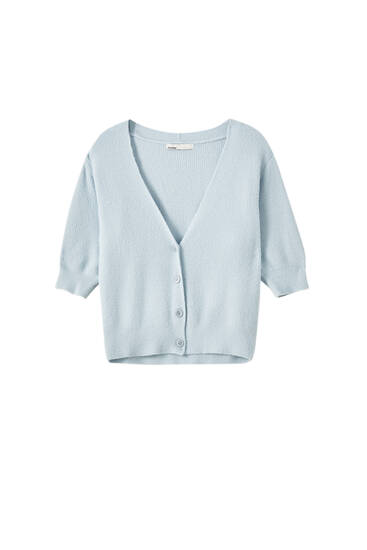 Fuzzy short sleeve cardigan