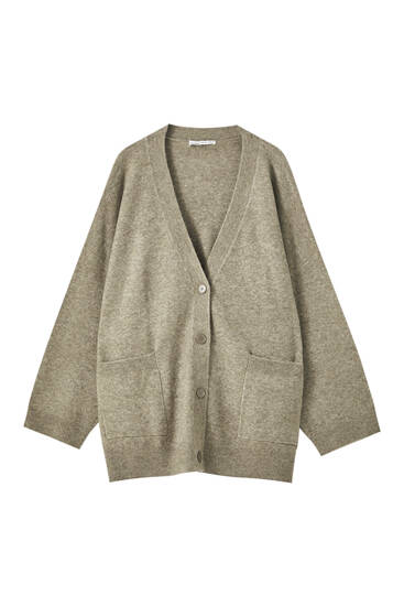 Oversize knit cardigan with patch pockets