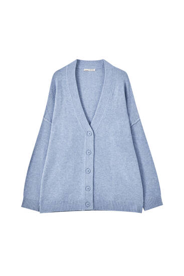 Blue soft knit cardigan