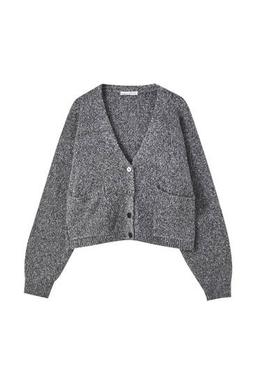 Grey twisted knit cardigan