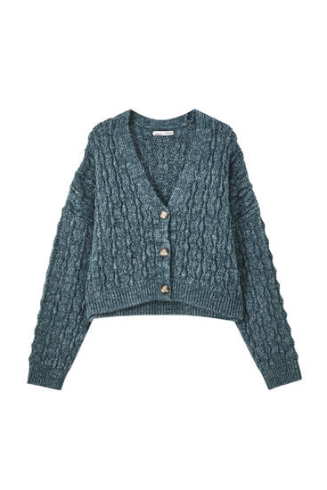 Buttoned open-knit cardigan