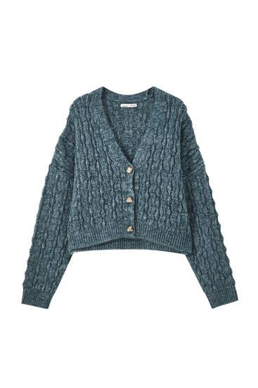 Grof tricot vest met knopen