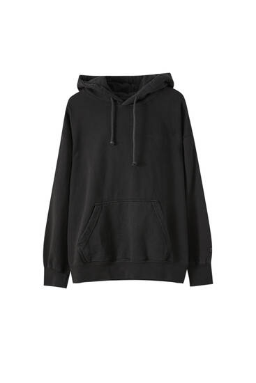 Basic-Langarm-Sweatshirt Kapuze