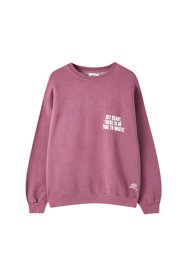 Pink printed contrast sweatshirt
