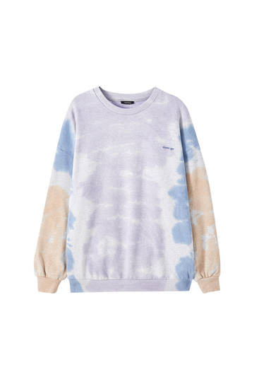 Tie-dye-Sweatshirt mit Stickerei