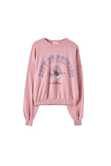 Malvenfarbenes Sweatshirt mit langen Ärmeln
