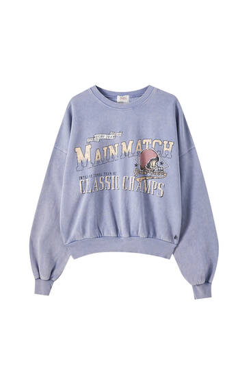 Blaues Sweatshirt Kontrast-Slogan