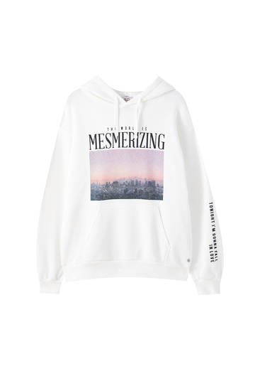 White sweatshirt with contrast photo