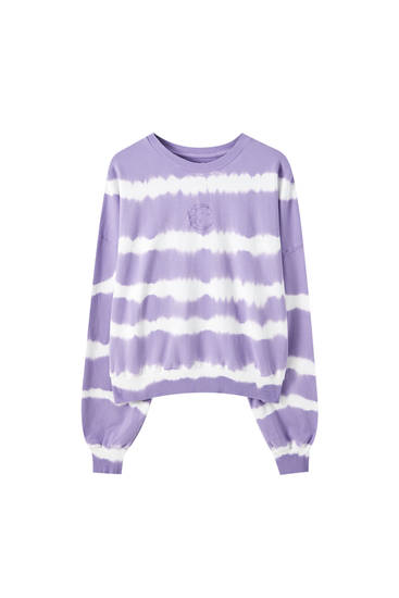 Violettes Sweatshirt in Tie-Dye-Optik