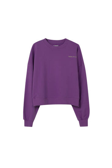 Long sleeve sweatshirt with contrast slogan