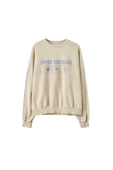 Sweatshirt mit Sonne- und Mond-Print