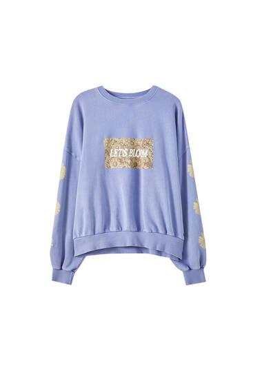 Sweatshirt im Washed-Look mit Blumenprint