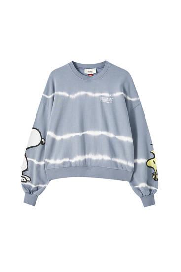 Blaues Tie-dye-Sweatshirt Snoopy