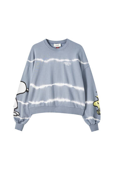 Blue tie-dye Snoopy sweatshirt
