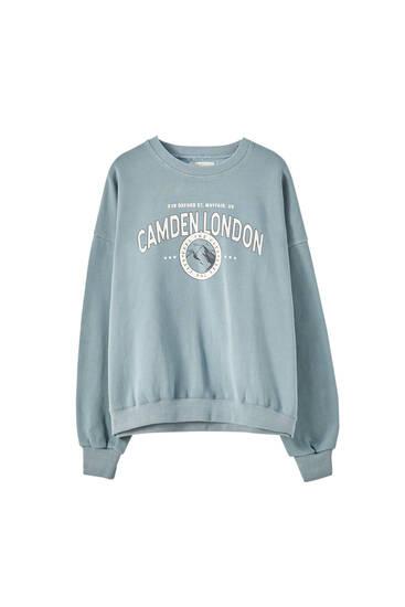 Faded-effect varsity sweatshirt