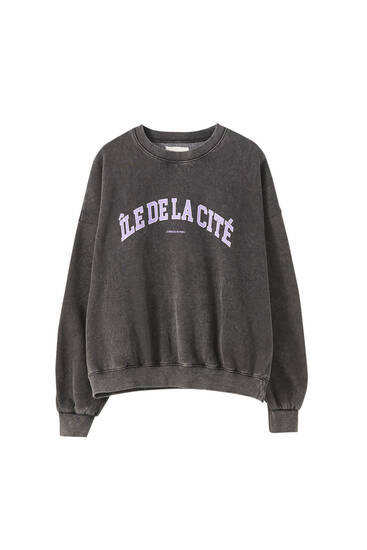 Faded-effect varsity sweatshirt