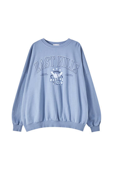 Baseball-Sweatshirt mit Slogan