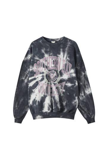 Schwarzes Tie-Dye-Sweatshirt mit Slogan
