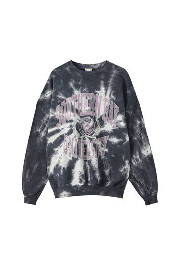 Black tie-dye slogan sweatshirt