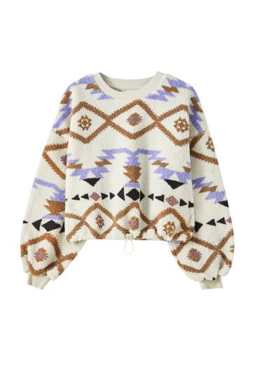 Ethno-Sweatshirt aus Lammfellimitat mit Print