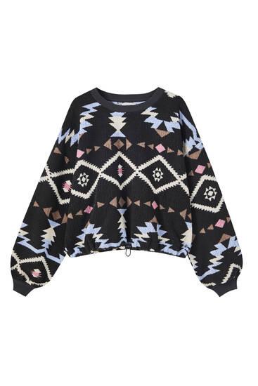 Faux shearling print sweatshirt