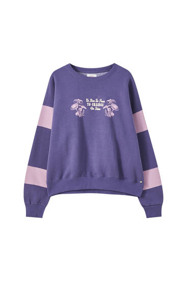 Purple sweatshirt with colour block sleeves