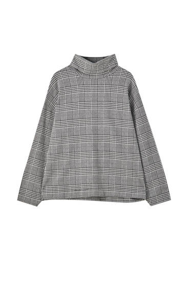 Turtleneck check sweatshirt