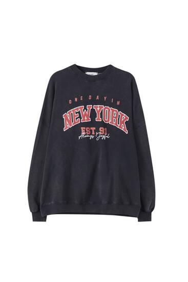 Faded effect slogan sweatshirt