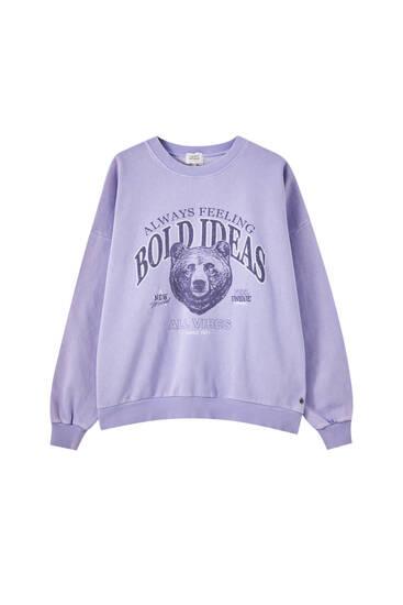 Mauve sweatshirt med björngrafik