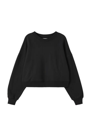 Basic-Sweatshirt mit Patentmuster