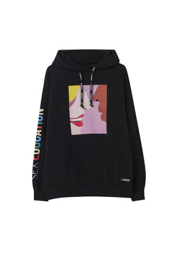 Sex Education x Pull&Bear black sweatshirt with multicoloured slogan