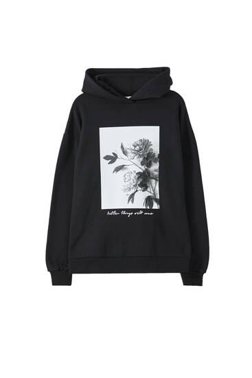 Black sweatshirt with photo print