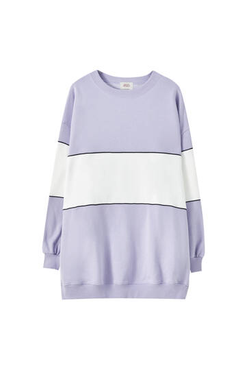 Lilac sweatshirt dress with panel