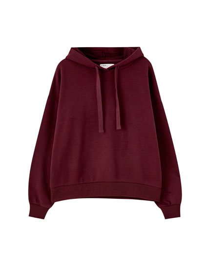 Basic long sleeve hooded sweatshirt