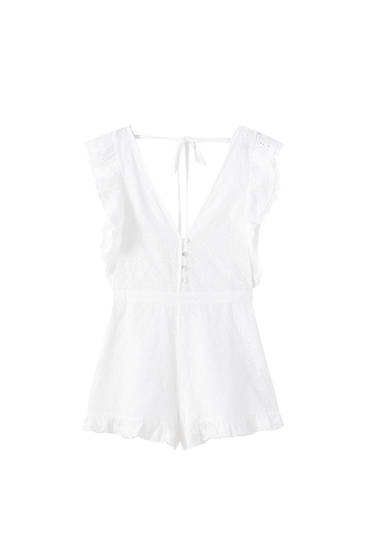 Ruffled Swiss embroidery playsuit