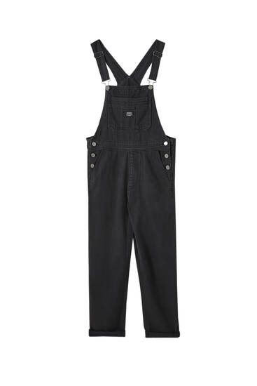 Long black dungarees with logo