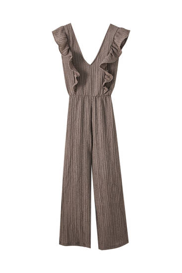 Crepe culotte jumpsuit with ruffles