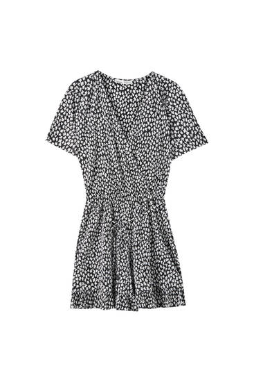 Printed playsuit with pleats