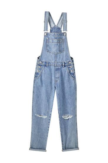 Lange Jeans-Latzhose mit Trägern