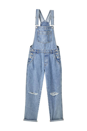 Long denim dungarees with straps