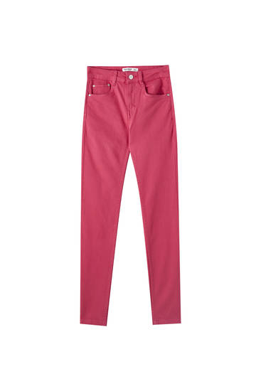 Coloured push-up trousers