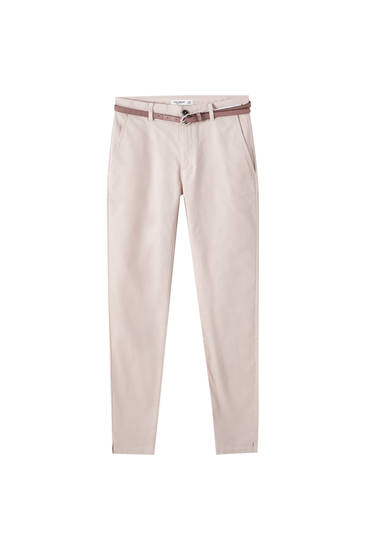 Pantalon chino basique avec ceinture