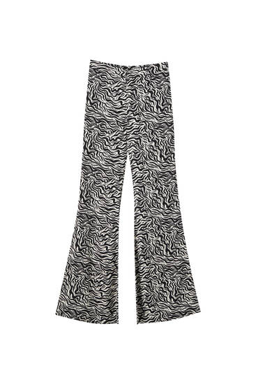 Zebra print flared trousers