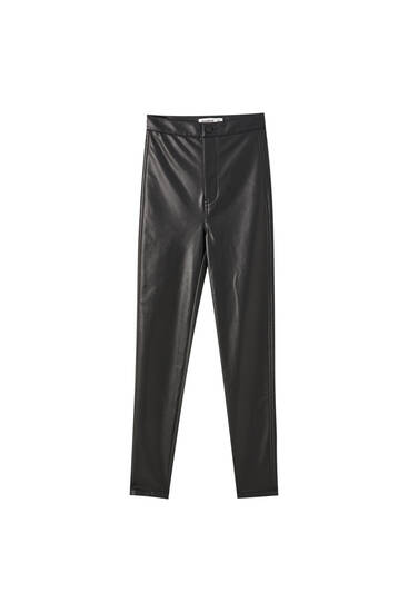 Pantalon skinny fit cuir synthétique